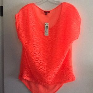 Lace front shirt. New with tag! Size M